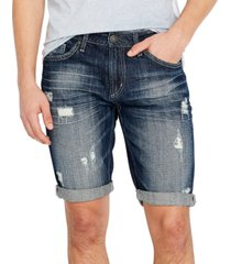 buffalo david bitton men's parker-x slim-fit ripped denim shorts