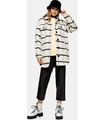 black and white stripe jacket with wool - white