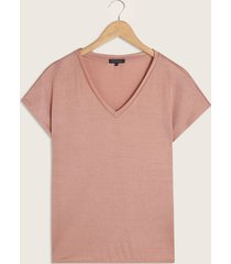 camiseta cuello en v manga corta tela con brillo-l
