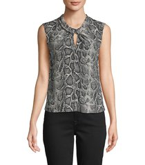 rebecca taylor women's snakeskin-print sleeveless top - washed black - size 4