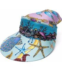 versace shell-print silk visor - blue