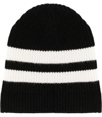 cashmere in love striped ribbed-knit beanie - black