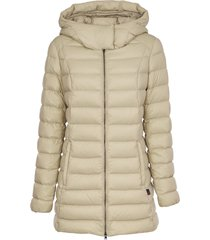 woolrich white down jacket with hood