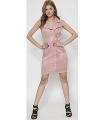 vestido con cierre frontal largo rosa 609seisceronueve