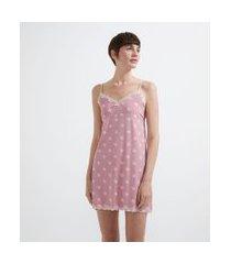 camisola de alcinha em liganete com estampa poá | lov | rosa | m