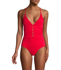 plunge button-front one-piece swimsuit