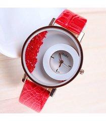 reloj dama casual tendencia 2017 correa de piel color rojo diseño exclusivo