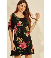yoins black random floral print cold shoulder short mini dress