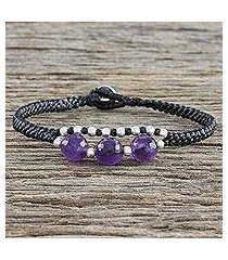 amethyst and silver beaded bracelet, 'hill tribe express' (thailand)