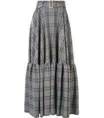 maison mihara yasuhiro plaid-print belted skirt - grey