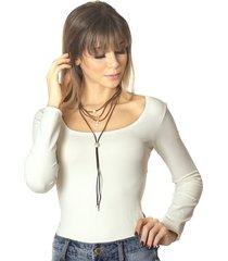 blusa ficalinda manga longa decote redondo palha
