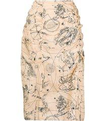 acne studios constellation-print mid-length skirt - neutrals