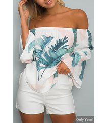 white off-the-shoulder floral print flared sleeved top with tie