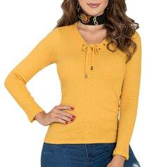 blusa lianna mostaza para mujer croydon