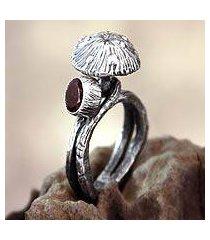 garnet cocktail ring, 'forest mushroom' (indonesia)