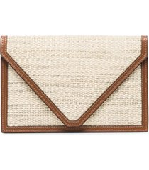 hunting season leather trimmed envelope clutch bag - neutro