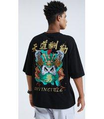 camiseta con estampado de eslogan chino y dibujos animados panda para hombre