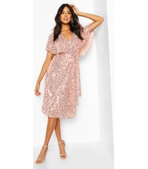 bridesmaid sequin cape detail midi dress, soft pink