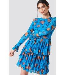 na-kd boho mesh flounce short dress - multicolor