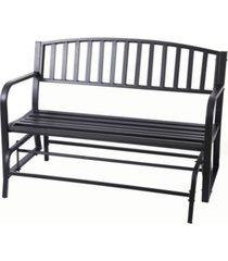 gardenised gardenised black steel patio garden park yard outdoor swing glider bench powder coated