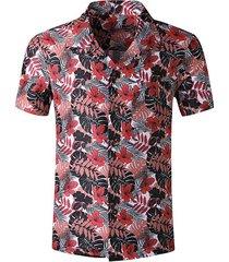 tropical leaf print pocket beach shirt