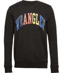 logo sweat black sweat-shirt trui blauw wrangler