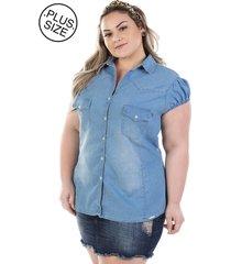 9e4ee3e07 camisa plus size - confidencial extra jeans vinil com elastano