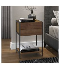 mesa de cabeceira artesano steel quadra vermont e preto fosco