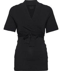lounge wrap top blouses short-sleeved svart boob