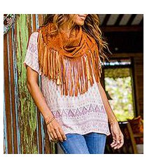 leather shawl, 'seruni garden' (indonesia)