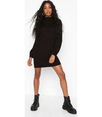 roll neck blouson sleeve sweater dress, black