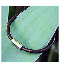men's leather bracelet, 'trendsetter spirit brown' (brazil)