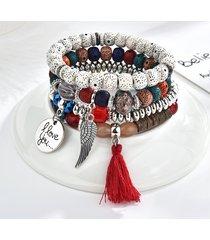 braccialetto in perline set vintage lettera nappa fascino braccialetto multistrato etnico per le donne