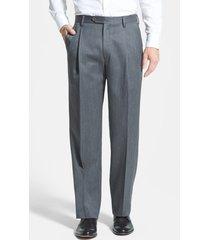 men's berle pleated classic fit wool gabardine dress pants, size 38 x - grey