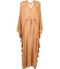 sandro paris draped open-knit maxi dress - orange