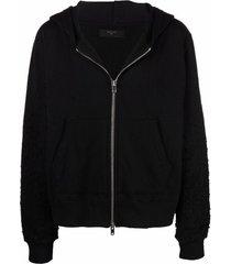 amiri shotgun embroidered ripped-detail hoodie