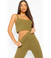 tall premium fluffy crop top and pants co-ord, khaki