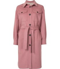 brunello cucinelli single-breasted felt midi coat - pink