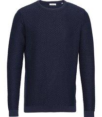 field crew neck knit - gots/vegan gebreide trui met ronde kraag blauw knowledge cotton apparel