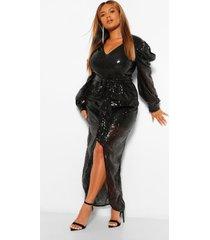 plus maxi wikkel jurk met pailetten, pofmouwen en ceintuur, zwart