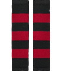 6397 striped fingerless gloves - red