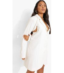 plus premium blazer jurk met uitsnijding, ecru