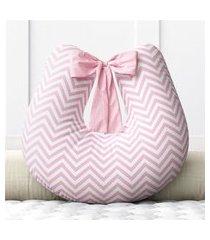 almofada amamentação chevron rosa c/ zíper grão de gente rosa