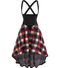 lace up plaid crisscross high low suspender skirt