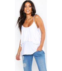 maternity double layer ruffle cami top, white