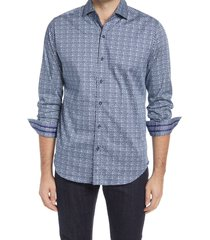 men's robert graham manning regular fit houndstooth button-up stretch cotton shirt, size xxx-large - blue