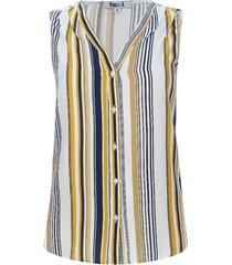 blusa con alforzas estampado lineas color amarillo, talla 6