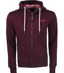 superdry heren vest orange label zip hoodie cranberry grit