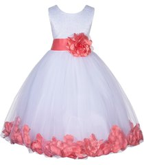 satin bodice floral lace white flower girl dress bridesmaid wedding pageant 165s