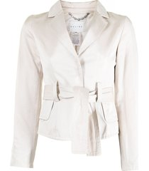 céline pre-owned pre-owned belted single-breasted blazer - neutrals